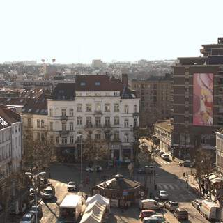 Tableau géant de Guillaume Bottazzi, Place Jourdan à Bruxelles