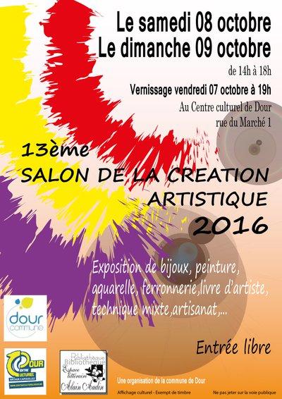 Salon de la cr ation artistique 2016 dour 7370 du for Salon formation artistique
