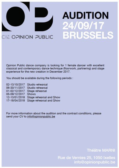 AUDITION 24/09/2017 BRUXELLES for 1 female dancer