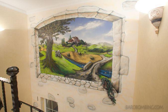 perfect baero peinture dcorative paysage trompe l oeil et lettrages graffiti with trompe oeil mural interieur