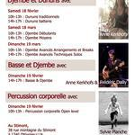 Stages de djembe, dununs, percussions corporelles et basse & djembe